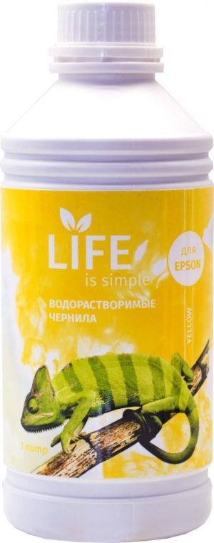 Чернила Life водорастворимые, yellow, 1 литр