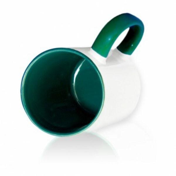 Кружка цветная внутри + цветная ручка темно-зеленая для сублимации