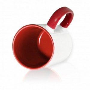 Кружка цветная внутри + цветная ручка темно-красная для сублимации