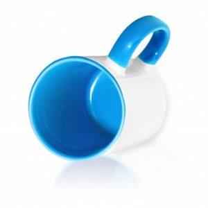 Кружка цветная внутри + цветная ручка светло-синяя для сублимации