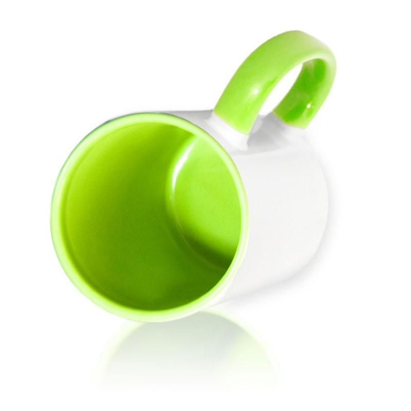 Кружка цветная внутри + цветная ручка светло-зеленая для сублимации
