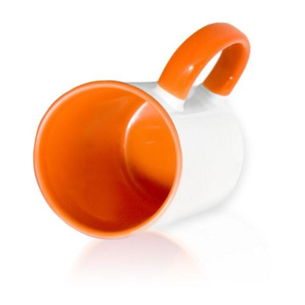 Кружка цветная внутри + цветная ручка оранжевая для сублимации