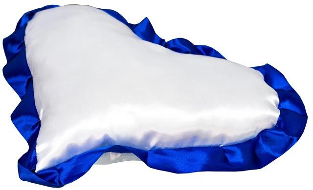 Подушка с наволочкой в виде сердца LIFE, синий кант (38х38см)