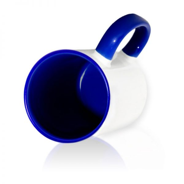 Кружка цветная внутри + цветная ручка темно-синяя для сублимации