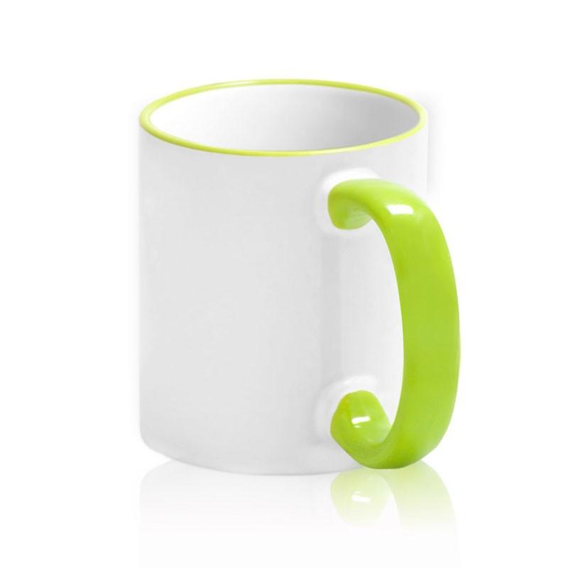 Кружка цветная ручка и каемка светло-зеленая для сублимации