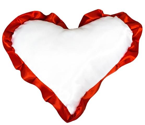 Подушка с наволочкой в виде сердца LIFE, красный кант (38х38см)