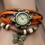 Часы наручные - женские винтажные, оранжевые