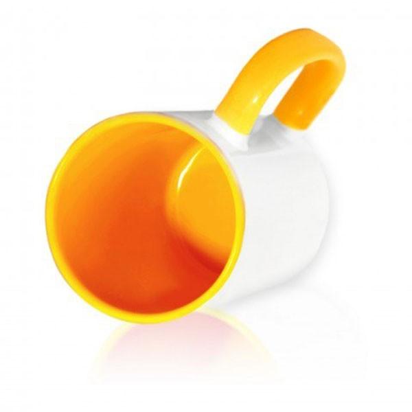 Кружка цветная внутри + цветная ручка желтая для сублимации